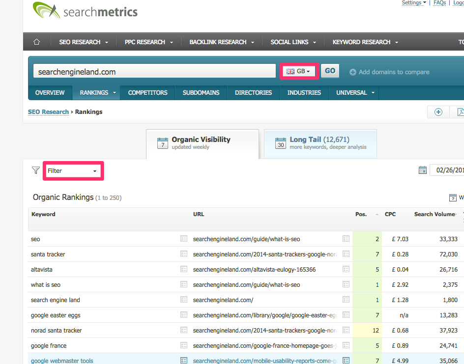 search metrics organic rankings screenshot