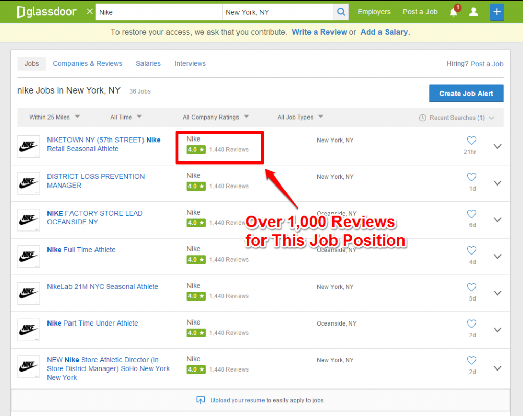 Glassdoor Nike Job Search