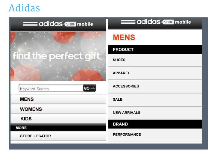 Adidas mobile site