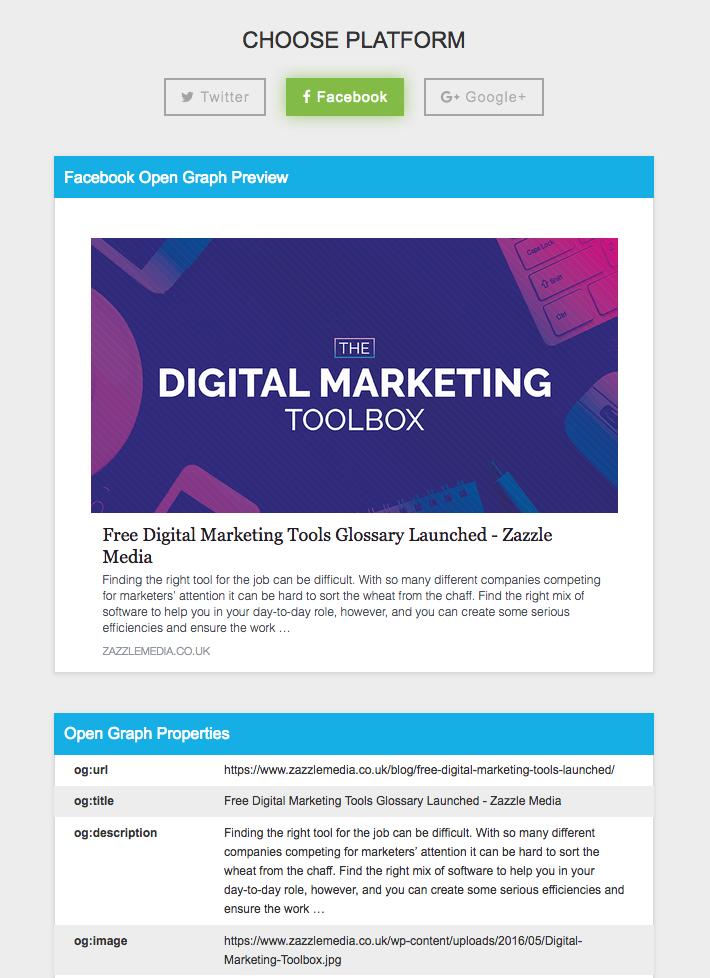 Social meta tag preview tool screenshot