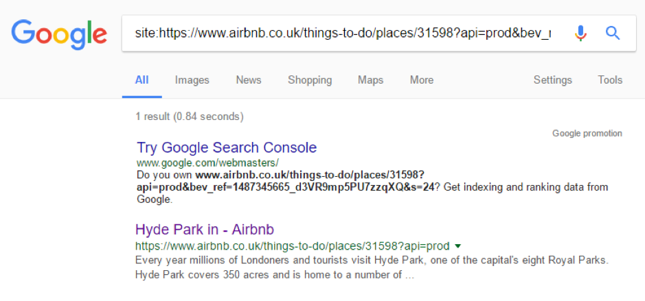 Google site search Airbnb