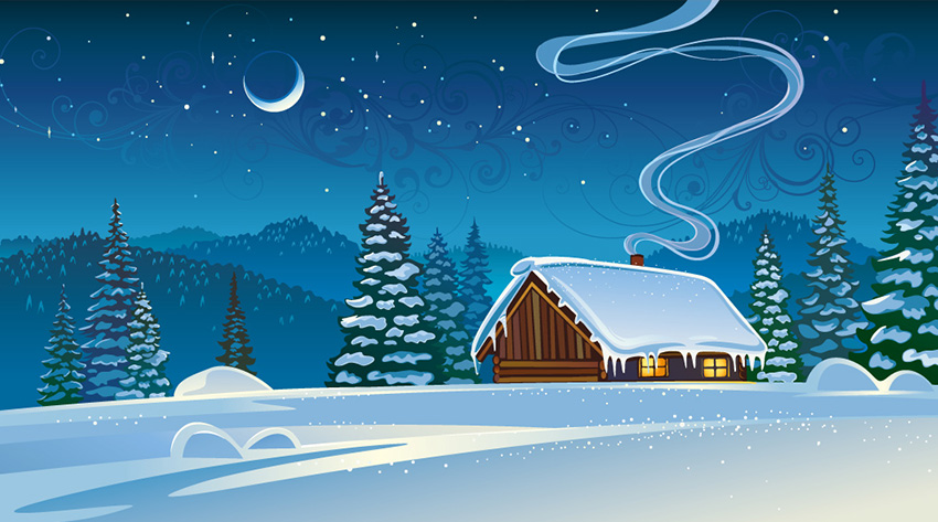 cartoon cabin the winter image
