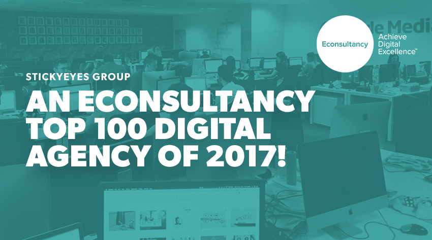 Stickyeyes Econsultancy top 100 digital agency of 2017 banner image