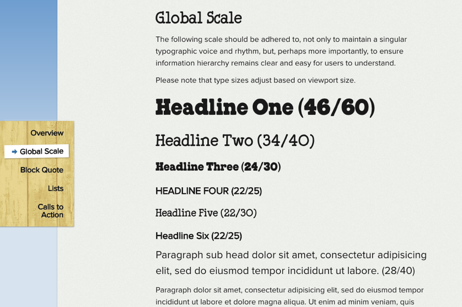 example of style guide for fonts