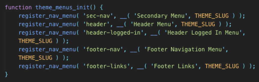 adding navigation code wordpress