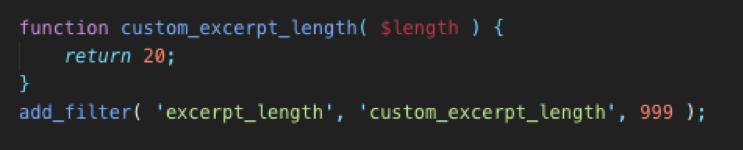 change excerpt length code wordpress