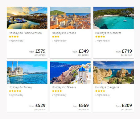 cheap holidays grid picture