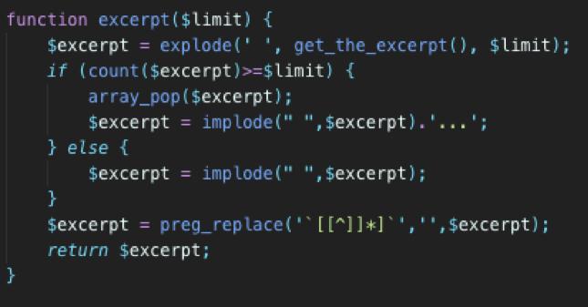 custom excerpt length code wordpress