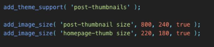 custom image size code wordpress