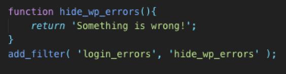 disable default error code wordpress