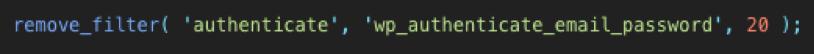 disable login code wordpress