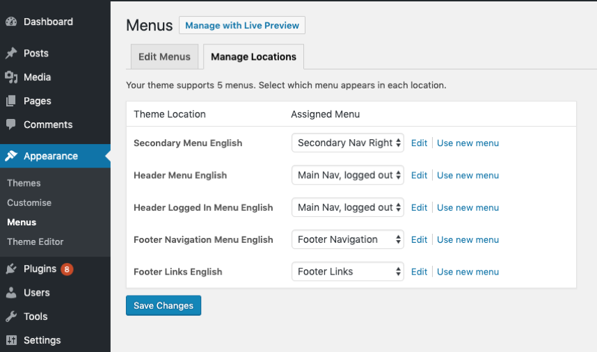 navigation menu settings wordpress