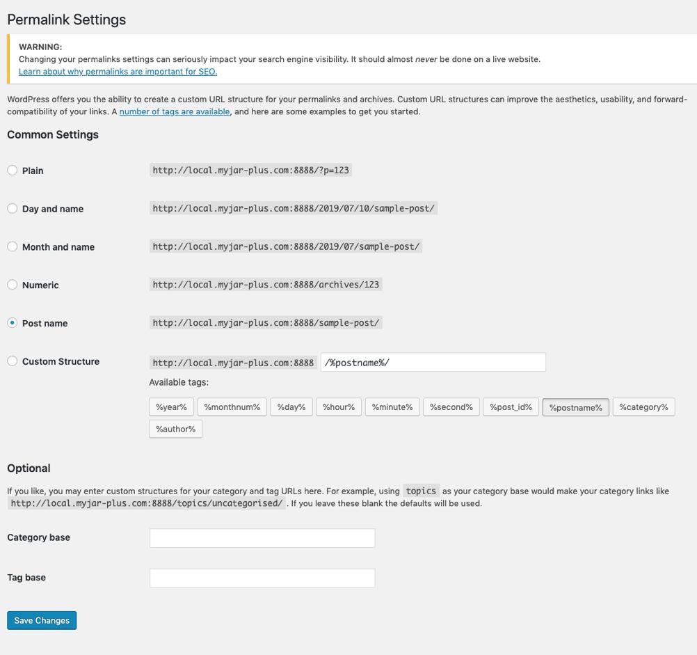 permalink settings wordpress