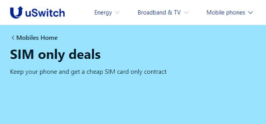 uswitch sim only deals page