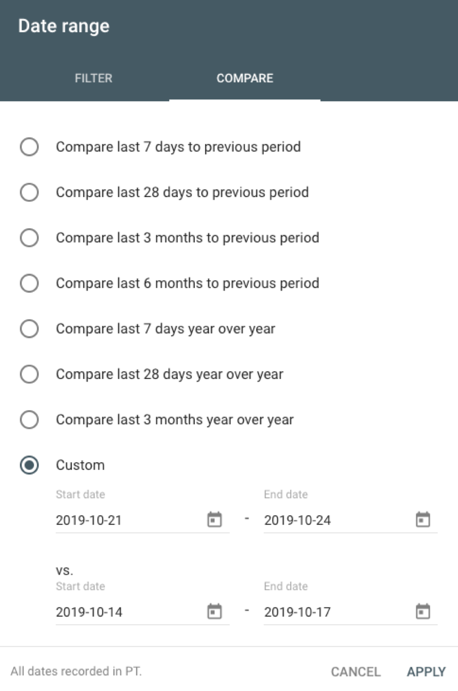 date range on google search console