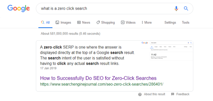 snippet and zero click search